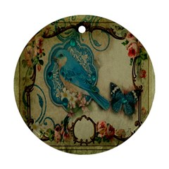 Victorian Girly Blue Bird Vintage Damask Floral Paris Eiffel Tower Round Ornament (Two Sides)