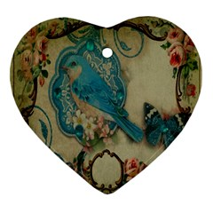 Victorian Girly Blue Bird Vintage Damask Floral Paris Eiffel Tower Heart Ornament (Two Sides)