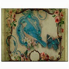 Victorian Girly Blue Bird Vintage Damask Floral Paris Eiffel Tower Canvas 8  x 10  (Unframed)