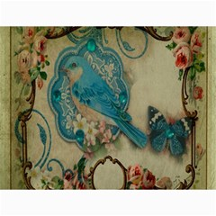 Victorian Girly Blue Bird Vintage Damask Floral Paris Eiffel Tower Canvas 12  X 16  (unframed)