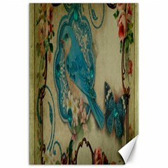 Victorian Girly Blue Bird Vintage Damask Floral Paris Eiffel Tower Canvas 20  X 30  (unframed)