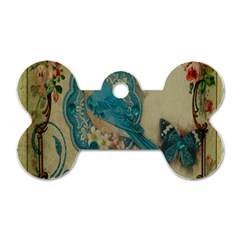 Victorian Girly Blue Bird Vintage Damask Floral Paris Eiffel Tower Dog Tag Bone (Two Sided)