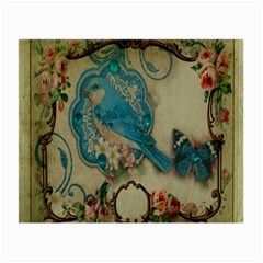 Victorian Girly Blue Bird Vintage Damask Floral Paris Eiffel Tower Glasses Cloth (Small, Two Sided)