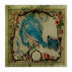 Victorian Girly Blue Bird Vintage Damask Floral Paris Eiffel Tower Glasses Cloth (medium, Two Sided)