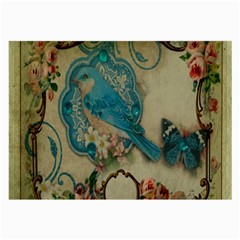 Victorian Girly Blue Bird Vintage Damask Floral Paris Eiffel Tower Glasses Cloth (large, Two Sided)