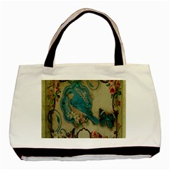 Victorian Girly Blue Bird Vintage Damask Floral Paris Eiffel Tower Twin-sided Black Tote Bag