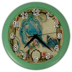 Victorian Girly Blue Bird Vintage Damask Floral Paris Eiffel Tower Wall Clock (color)