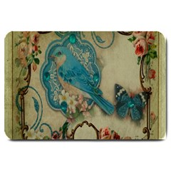 Victorian Girly Blue Bird Vintage Damask Floral Paris Eiffel Tower Large Door Mat
