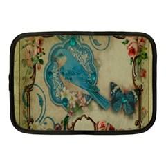 Victorian Girly Blue Bird Vintage Damask Floral Paris Eiffel Tower Netbook Case (Medium)