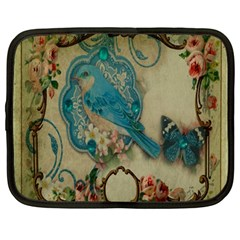 Victorian Girly Blue Bird Vintage Damask Floral Paris Eiffel Tower Netbook Case (Large)