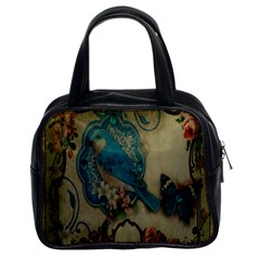 Victorian Girly Blue Bird Vintage Damask Floral Paris Eiffel Tower Classic Handbag (two Sides)