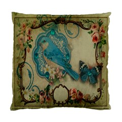 Victorian Girly Blue Bird Vintage Damask Floral Paris Eiffel Tower Cushion Case (Two Sided)