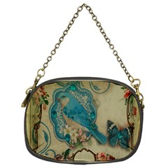 Victorian Girly Blue Bird Vintage Damask Floral Paris Eiffel Tower Chain Purse (two Sided)