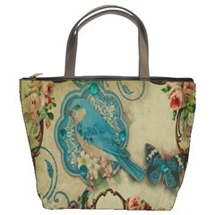 Victorian Girly Blue Bird Vintage Damask Floral Paris Eiffel Tower Bucket Bag