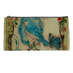 Victorian Girly Blue Bird Vintage Damask Floral Paris Eiffel Tower Pencil Case