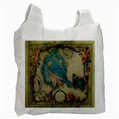 Victorian Girly Blue Bird Vintage Damask Floral Paris Eiffel Tower Recycle Bag (Two Sides)