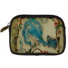 Victorian Girly Blue Bird Vintage Damask Floral Paris Eiffel Tower Digital Camera Leather Case