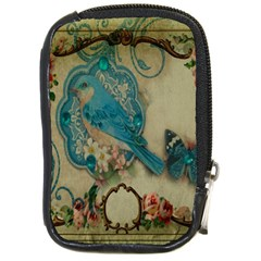 Victorian Girly Blue Bird Vintage Damask Floral Paris Eiffel Tower Compact Camera Leather Case