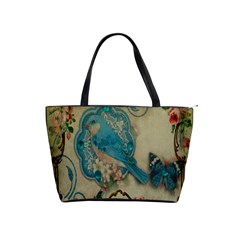 Victorian Girly Blue Bird Vintage Damask Floral Paris Eiffel Tower Large Shoulder Bag