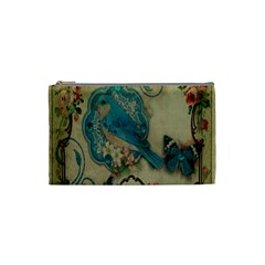 Victorian Girly Blue Bird Vintage Damask Floral Paris Eiffel Tower Cosmetic Bag (Small)