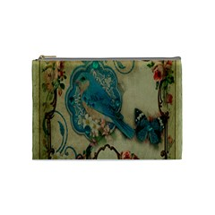 Victorian Girly Blue Bird Vintage Damask Floral Paris Eiffel Tower Cosmetic Bag (Medium)
