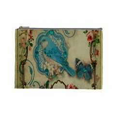 Victorian Girly Blue Bird Vintage Damask Floral Paris Eiffel Tower Cosmetic Bag (Large)