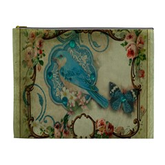 Victorian Girly Blue Bird Vintage Damask Floral Paris Eiffel Tower Cosmetic Bag (XL)