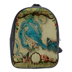 Victorian Girly Blue Bird Vintage Damask Floral Paris Eiffel Tower School Bag (Large)