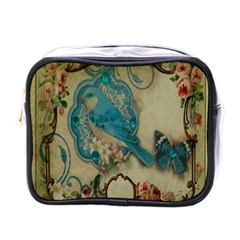 Victorian Girly Blue Bird Vintage Damask Floral Paris Eiffel Tower Mini Travel Toiletry Bag (One Side)
