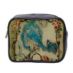 Victorian Girly Blue Bird Vintage Damask Floral Paris Eiffel Tower Mini Travel Toiletry Bag (two Sides)
