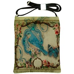 Victorian Girly Blue Bird Vintage Damask Floral Paris Eiffel Tower Shoulder Sling Bag