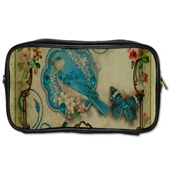 Victorian Girly Blue Bird Vintage Damask Floral Paris Eiffel Tower Travel Toiletry Bag (Two Sides)
