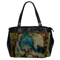Victorian Girly Blue Bird Vintage Damask Floral Paris Eiffel Tower Oversize Office Handbag (one Side)