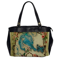 Victorian Girly Blue Bird Vintage Damask Floral Paris Eiffel Tower Oversize Office Handbag (two Sides)