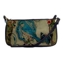 Victorian Girly Blue Bird Vintage Damask Floral Paris Eiffel Tower Evening Bag