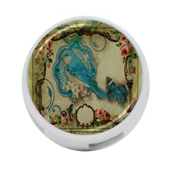 Victorian Girly Blue Bird Vintage Damask Floral Paris Eiffel Tower 4-Port USB Hub (One Side)