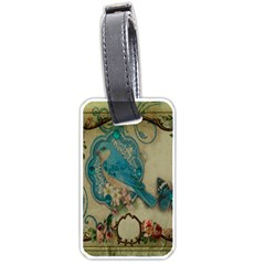 Victorian Girly Blue Bird Vintage Damask Floral Paris Eiffel Tower Luggage Tag (Two Sides)