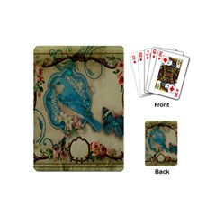 Victorian Girly Blue Bird Vintage Damask Floral Paris Eiffel Tower Playing Cards (mini)