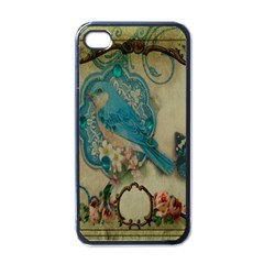 Victorian Girly Blue Bird Vintage Damask Floral Paris Eiffel Tower Apple iPhone 4 Case (Black)