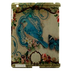 Victorian Girly Blue Bird Vintage Damask Floral Paris Eiffel Tower Apple iPad 3/4 Hardshell Case (Compatible with Smart Cover)