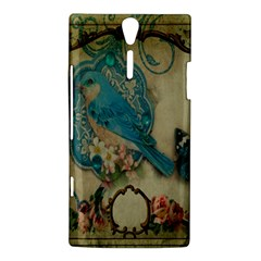 Victorian Girly Blue Bird Vintage Damask Floral Paris Eiffel Tower Sony Xperia S Hardshell Case