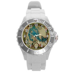 Victorian Girly Blue Bird Vintage Damask Floral Paris Eiffel Tower Plastic Sport Watch (Large)
