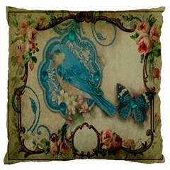 Victorian Girly Blue Bird Vintage Damask Floral Paris Eiffel Tower Large Cushion Case (Single Sided)