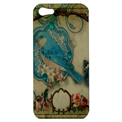 Victorian Girly Blue Bird Vintage Damask Floral Paris Eiffel Tower Apple iPhone 5 Hardshell Case