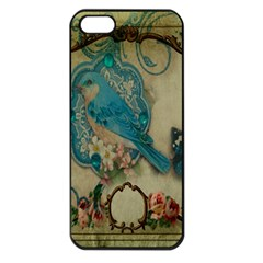 Victorian Girly Blue Bird Vintage Damask Floral Paris Eiffel Tower Apple iPhone 5 Seamless Case (Black)