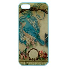 Victorian Girly Blue Bird Vintage Damask Floral Paris Eiffel Tower Apple Seamless iPhone 5 Case (Color)