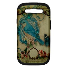 Victorian Girly Blue Bird Vintage Damask Floral Paris Eiffel Tower Samsung Galaxy S III Hardshell Case (PC+Silicone)