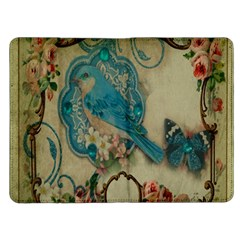 Victorian Girly Blue Bird Vintage Damask Floral Paris Eiffel Tower Kindle Fire Flip Case