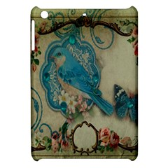 Victorian Girly Blue Bird Vintage Damask Floral Paris Eiffel Tower Apple Ipad Mini Hardshell Case