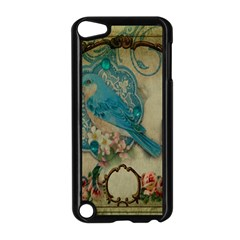 Victorian Girly Blue Bird Vintage Damask Floral Paris Eiffel Tower Apple iPod Touch 5 Case (Black)